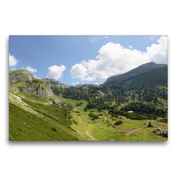 Premium Textil-Leinwand 75 x 50 cm Quer-Format Weitblick im Rofan mit seinen Alpwiesen und Bergen | Wandbild, HD-Bild auf Keilrahmen, Fertigbild auf hochwertigem Vlies, Leinwanddruck von Anja Frost
