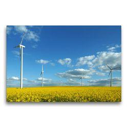 Premium Textil-Leinwand 75 x 50 cm Quer-Format Windenergie | Wandbild, HD-Bild auf Keilrahmen, Fertigbild auf hochwertigem Vlies, Leinwanddruck von Flori0