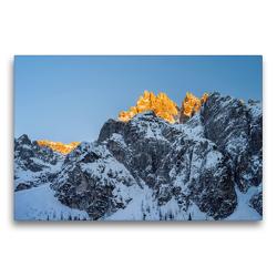 Premium Textil-Leinwand 75 x 50 cm Quer-Format Winter im Innerfeldtal der Sextener Dolomiten mit dem rot-glühenden Gipfel der Dreischusterspitze (3145 m) | Wandbild, HD-Bild auf Keilrahmen, Fertigbild auf hochwertigem Vlies, Leinwanddruck von Martin Zwick