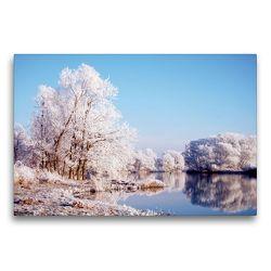 Premium Textil-Leinwand 75 x 50 cm Quer-Format Winterlandschaft an der Havel. Landschaft im Havelland.   Wandbild, HD-Bild auf Keilrahmen, Fertigbild auf hochwertigem Vlies, Leinwanddruck von Anja Frost