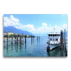 Premium Textil-Leinwand 75 x 50 cm Quer-Format Wunderschöner Lago Maggiore: Bilderbuchidylle in Locarno.   Wandbild, HD-Bild auf Keilrahmen, Fertigbild auf hochwertigem Vlies, Leinwanddruck von Christine Konkel