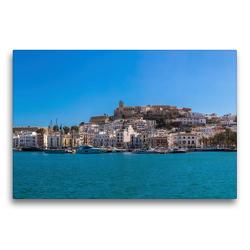 Premium Textil-Leinwand 75 x 50 cm Quer-Format Yachthafen Ibiza Stadt | Wandbild, HD-Bild auf Keilrahmen, Fertigbild auf hochwertigem Vlies, Leinwanddruck von Alexander Wolff
