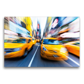 Premium Textil-Leinwand 75 x 50 cm Quer-Format Yellow Cabs brausen durch die Strassen von New York | Wandbild, HD-Bild auf Keilrahmen, Fertigbild auf hochwertigem Vlies, Leinwanddruck von CALVENDO