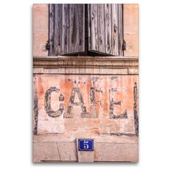 Premium Textil-Leinwand 80 x 120 cm Hoch-Format Cafe im Dorf Bonnieux, Luberon, Provence, Frankreich   Wandbild, HD-Bild auf Keilrahmen, Fertigbild auf hochwertigem Vlies, Leinwanddruck von Christian Müringer