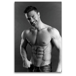 Premium Textil-Leinwand 80 x 120 cm Hoch-Format Aber hallo! Sportlicher junger Mann mit muskulösem Oberkörper | Wandbild, HD-Bild auf Keilrahmen, Fertigbild auf hochwertigem Vlies, Leinwanddruck von CALVENDO