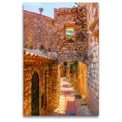 Premium Textil-Leinwand 80 x 120 cm Hoch-Format Altstadtgasse in Eze, Provence, Frankreich | Wandbild, HD-Bild auf Keilrahmen, Fertigbild auf hochwertigem Vlies, Leinwanddruck von Christian Müller