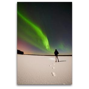 Premium Textil-Leinwand 80 x 120 cm Hoch-Format Auf der Suche nach dem Nordlicht. | Wandbild, HD-Bild auf Keilrahmen, Fertigbild auf hochwertigem Vlies, Leinwanddruck von Pierre Oesterle