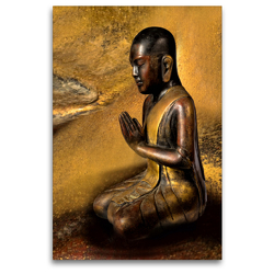 Premium Textil-Leinwand 80 x 120 cm Hoch-Format Betender buddhistischer Mönch | Wandbild, HD-Bild auf Keilrahmen, Fertigbild auf hochwertigem Vlies, Leinwanddruck von Bernd Maertens