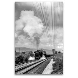 Premium Textil-Leinwand 80 x 120 cm Hoch-Format Dampflok 44 0601 bei Gorndorf, Mai 1981 | Wandbild, HD-Bild auf Keilrahmen, Fertigbild auf hochwertigem Vlies, Leinwanddruck von Manfred Dietsch