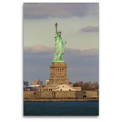 Premium Textil-Leinwand 80 x 120 cm Hoch-Format Freiheitsstatue in Manhattan New York City | Wandbild, HD-Bild auf Keilrahmen, Fertigbild auf hochwertigem Vlies, Leinwanddruck von Jana Thiem-Eberitsch