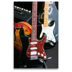 Premium Textil-Leinwand 80 x 120 cm Hoch-Format Gitarren Backstage | Wandbild, HD-Bild auf Keilrahmen, Fertigbild auf hochwertigem Vlies, Leinwanddruck von Renate Bleicher