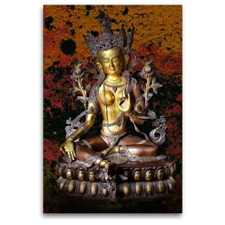 Premium Textil-Leinwand 80 x 120 cm Hoch-Format Grüne Tara, der weibliche Buddha des Mitgefühls | Wandbild, HD-Bild auf Keilrahmen, Fertigbild auf hochwertigem Vlies, Leinwanddruck von Bernd Maertens