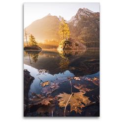 Premium Textil-Leinwand 80 x 120 cm Hoch-Format Hintersee im Morgenlicht | Wandbild, HD-Bild auf Keilrahmen, Fertigbild auf hochwertigem Vlies, Leinwanddruck von Alexander Höntschel