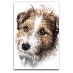 Premium Textil-Leinwand 80 x 120 cm Hoch-Format Jack Russell Terrier | Wandbild, HD-Bild auf Keilrahmen, Fertigbild auf hochwertigem Vlies, Leinwanddruck von Nicole Zeug