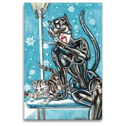 Premium Textil-Leinwand 80 x 120 cm Hoch-Format Katzen im Schnee. Catwoman in snow. The most wanted girls! | Wandbild, HD-Bild auf Keilrahmen, Fertigbild auf hochwertigem Vlies, Leinwanddruck von Sara Horwath Burlesqe up your wall