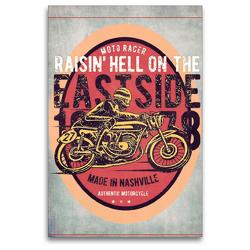 Premium Textil-Leinwand 80 x 120 cm Hoch-Format Motorrad Nostalgie   Wandbild, HD-Bild auf Keilrahmen, Fertigbild auf hochwertigem Vlies, Leinwanddruck von Peter Roder