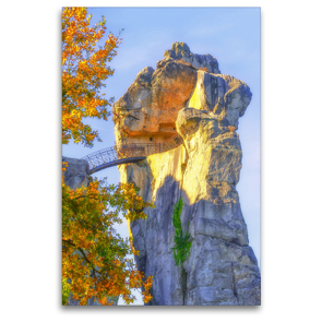 Premium Textil-Leinwand 80 x 120 cm Hoch-Format Mysteriöser Charme vom 40Meter hohen Sandsteinfelsen , Externsteine | Wandbild, HD-Bild auf Keilrahmen, Fertigbild auf hochwertigem Vlies, Leinwanddruck von Bettina Hackstein