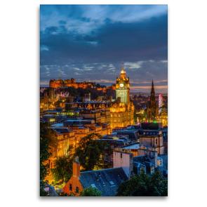 Premium Textil-Leinwand 80 x 120 cm Hoch-Format Nacht über Edinburgh | Wandbild, HD-Bild auf Keilrahmen, Fertigbild auf hochwertigem Vlies, Leinwanddruck von Christian Müller