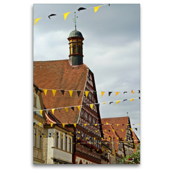 Premium Textil-Leinwand 80 x 120 cm Hoch-Format Rathaus Ebern | Wandbild, HD-Bild auf Keilrahmen, Fertigbild auf hochwertigem Vlies, Leinwanddruck von Andrea Meister
