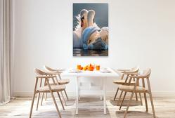 Premium Textil-Leinwand 80 x 120 cm Hoch-Format Schwäne, Liebe verbindet | Wandbild, HD-Bild auf Keilrahmen, Fertigbild auf hochwertigem Vlies, Leinwanddruck von Peter Roder