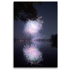 Premium Textil-Leinwand 80 x 120 cm Hoch-Format Strahlendes Feuerwerk mit Spiegelung | Wandbild, HD-Bild auf Keilrahmen, Fertigbild auf hochwertigem Vlies, Leinwanddruck von Frank Uffmann
