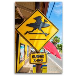 Premium Textil-Leinwand 80 x 120 cm Hoch-Format Straßenschild in Haleiwa | Wandbild, HD-Bild auf Keilrahmen, Fertigbild auf hochwertigem Vlies, Leinwanddruck von Christian Müller