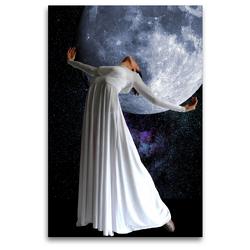 Premium Textil-Leinwand 80 x 120 cm Hoch-Format Tanz mit dem Mond | Wandbild, HD-Bild auf Keilrahmen, Fertigbild auf hochwertigem Vlies, Leinwanddruck von Harald Fischer