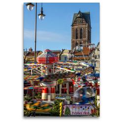 Premium Textil-Leinwand 80 x 120 cm Hoch-Format Weihnachtstrubel auf dem Wismarer Marktplatz | Wandbild, HD-Bild auf Keilrahmen, Fertigbild auf hochwertigem Vlies, Leinwanddruck von Holger Felix