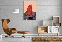 Premium Textil-Leinwand 800 x 1200 cm Hoch-Format Traditionelle Dschunke in der Bucht | Wandbild, HD-Bild auf Keilrahmen, Fertigbild auf hochwertigem Vlies, Leinwanddruck von Joern Stegen