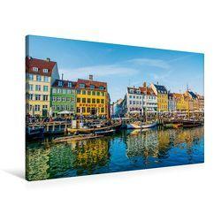 Premium Textil-Leinwand 90 cm x 60 cm quer, Nyhavn in Kopenhagen | Wandbild, Bild auf Keilrahmen, Fertigbild auf echter Leinwand, Leinwanddruck von CALVENDO