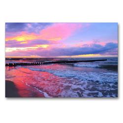 Premium Textil-Leinwand 90 x 60 cm Quer-Format Abendstimmung am Meer | Wandbild, HD-Bild auf Keilrahmen, Fertigbild auf hochwertigem Vlies, Leinwanddruck von Claudia Schimmack