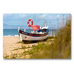Premium Textil-Leinwand 90 x 60 cm Quer-Format Altes Fischerboot Sesimbra | Wandbild, HD-Bild auf Keilrahmen, Fertigbild auf hochwertigem Vlies, Leinwanddruck von Georg Arnold