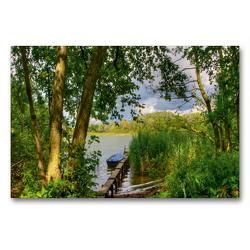 Premium Textil-Leinwand 90 x 60 cm Quer-Format Am Haussee | Wandbild, HD-Bild auf Keilrahmen, Fertigbild auf hochwertigem Vlies, Leinwanddruck von Ralf Wittstock