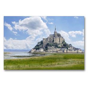 Premium Textil-Leinwand 90 x 60 cm Quer-Format Am Mont St. Michel | Wandbild, HD-Bild auf Keilrahmen, Fertigbild auf hochwertigem Vlies, Leinwanddruck von Christine B-B Müller