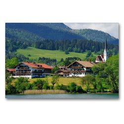 Premium Textil-Leinwand 90 x 60 cm Quer-Format Bad Wiessee Panorama | Wandbild, HD-Bild auf Keilrahmen, Fertigbild auf hochwertigem Vlies, Leinwanddruck von Dieter-M. Wilczek