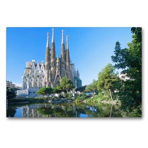 Premium Textil-Leinwand 90 x 60 cm Quer-Format Barcelona, Sagrada Familia | Wandbild, HD-Bild auf Keilrahmen, Fertigbild auf hochwertigem Vlies, Leinwanddruck von N N