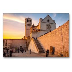 Premium Textil-Leinwand 90 x 60 cm Quer-Format Basilika San Francesco vom unteren Platz aus gesehen   Wandbild, HD-Bild auf Keilrahmen, Fertigbild auf hochwertigem Vlies, Leinwanddruck von Alessandro Tortora