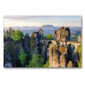 Premium Textil-Leinwand 90 x 60 cm Quer-Format Basteibrücke in der Sächsischen Schweiz | Wandbild, HD-Bild auf Keilrahmen, Fertigbild auf hochwertigem Vlies, Leinwanddruck von Michael Valjak