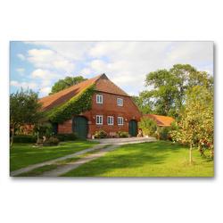 Premium Textil-Leinwand 90 x 60 cm Quer-Format Bauernhof in Butjadingen | Wandbild, HD-Bild auf Keilrahmen, Fertigbild auf hochwertigem Vlies, Leinwanddruck von Steffani Lehmann