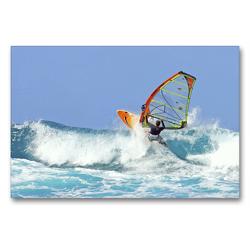 Premium Textil-Leinwand 90 x 60 cm Quer-Format Beherzter Windsurfer gleitet rasant durch die Brandung. | Wandbild, HD-Bild auf Keilrahmen, Fertigbild auf hochwertigem Vlies, Leinwanddruck von CALVENDO