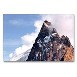 Premium Textil-Leinwand 90 x 60 cm Quer-Format Berggipfel der La Meije | Wandbild, HD-Bild auf Keilrahmen, Fertigbild auf hochwertigem Vlies, Leinwanddruck von Jürgen Feuerer