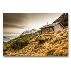Premium Textil-Leinwand 90 x 60 cm Quer-Format Berghütte im Wettersteingebirge | Wandbild, HD-Bild auf Keilrahmen, Fertigbild auf hochwertigem Vlies, Leinwanddruck von Maik Major