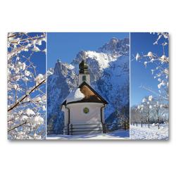 Premium Textil-Leinwand 90 x 60 cm Quer-Format Bergwinter Oberbayern Kapelle im Karwendel | Wandbild, HD-Bild auf Keilrahmen, Fertigbild auf hochwertigem Vlies, Leinwanddruck von SusaZoom