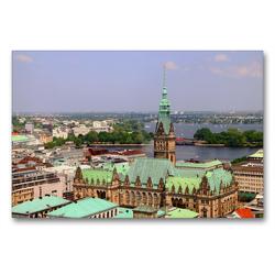 Premium Textil-Leinwand 90 x 60 cm Quer-Format Blick auf das Rathaus   Wandbild, HD-Bild auf Keilrahmen, Fertigbild auf hochwertigem Vlies, Leinwanddruck von Helene Seidl