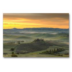 Premium Textil-Leinwand 90 x 60 cm Quer-Format Blick ins Val d'Orcia bei Sonnenaufgang | Wandbild, HD-Bild auf Keilrahmen, Fertigbild auf hochwertigem Vlies, Leinwanddruck von Michael Valjak