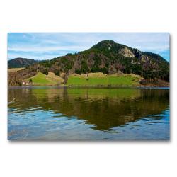 Premium Textil-Leinwand 90 x 60 cm Quer-Format Blick über den See | Wandbild, HD-Bild auf Keilrahmen, Fertigbild auf hochwertigem Vlies, Leinwanddruck von Ralf Wittstock