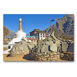 Premium Textil-Leinwand 90 x 60 cm Quer-Format Blick zur Tengboche Gompa auf 3860 m Höhe, dem wichtigsten buddhistischen Kloster im Khumbu | Wandbild, HD-Bild auf Keilrahmen, Fertigbild auf hochwertigem Vlies, Leinwanddruck von Ulrich Senff
