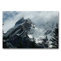 Premium Textil-Leinwand 90 x 60 cm Quer-Format Blüemlisalp in den Wolken | Wandbild, HD-Bild auf Keilrahmen, Fertigbild auf hochwertigem Vlies, Leinwanddruck von kattobello