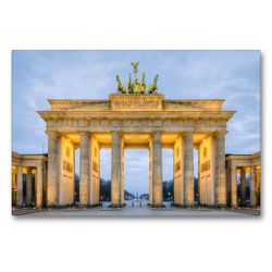 Premium Textil-Leinwand 90 x 60 cm Quer-Format Brandenburger Tor Berlin | Wandbild, HD-Bild auf Keilrahmen, Fertigbild auf hochwertigem Vlies, Leinwanddruck von Michael Valjak