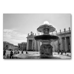 Premium Textil-Leinwand 90 x 60 cm Quer-Format Brunnen auf dem Petersplatz | Wandbild, HD-Bild auf Keilrahmen, Fertigbild auf hochwertigem Vlies, Leinwanddruck von kattobello